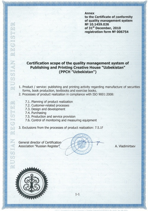 Annex to the Certificate of conformity of quality management system